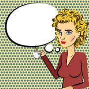 Cute woman blonde hair pop art drinking coffee Stock Illustration