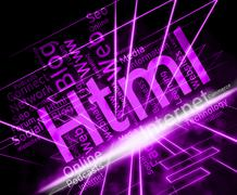 Html Word Representing Hypertext Markup Language Programming Stock Illustration