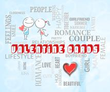 Valentine Cards Shows Romantic Greeting And Adoration Stock Illustration