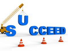 Build Success Shows Progress Winner 3d Rendering Stock Illustration