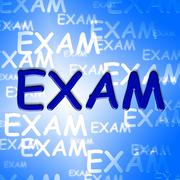 Exam Words Represents University Tests And Examination Stock Illustration