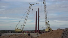 Construction works at the building site. Stock Footage