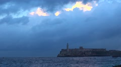 The fort, lighthouse and waterfront in Havana, Cuba. Stock Footage