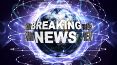 BREAKING NEWS Text Animation and Earth, Zoom Camera, 4k Stock Footage