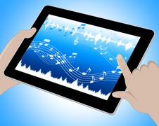 Music Indicates Soundtracks On Tablet 3d Illustration Stock Illustration