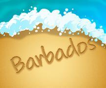 Barbados Holiday Shows Caribbean Vacation 3d Illustration Stock Illustration