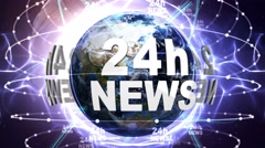 24h NEWS Text Animation and Earth, Loop, 4k Stock Footage