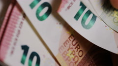Close up of Euro notes being counted by hand Stock Footage