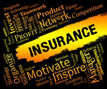 Insurance Words Represents Contract Covered And Policy Stock Illustration