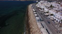 Aerial over coast and boulevard of Parikia, Greece. Stock Footage