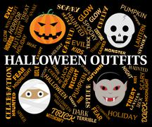 Halloween Outfits Shows Trick Or Treat Clothes Stock Illustration