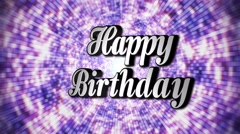 Happy Birthday Animation Rotation Text and Disco Dance Background, with Alpha Ch Stock Footage