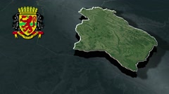 Plateaux with Coat Of Arms Animation Map Stock Footage