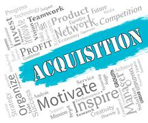 Acquisition Words Represents Procuring Procurement And Attainment Stock Illustration