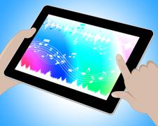 Music Indicates Online Soundtracks Tablet 3d Illustration Stock Illustration