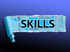 Skills Word Represents Skilled Expertise And Competent Stock Illustration