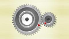 Gears with 40 and 20 teeth, double acceleration Stock Footage