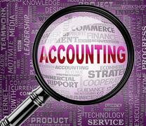 Accounting Magnifier Indicates Accounts Balance 3d Rendering Stock Illustration