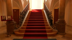 4K Nostalgic architecture Red Carpet stairway Stock Footage