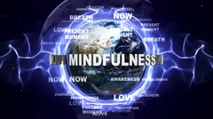 MINDFULNESS Text Animation and Earth, with Keywords, Loop, 4k Stock Footage