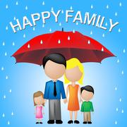 Happy Family Indicates Parenting Joy And Fun Stock Illustration
