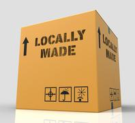 Locally Made Represents Local Merchandise 3d Rendering Stock Illustration