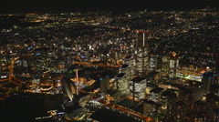 Night View in Yokohama Kobe from a height (the view from the helicopter) Stock Footage