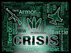 Crisis Words Shows Hard Times And Calamity Stock Illustration