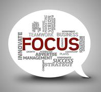 Focus Words Indicate Focused Concentration 3d Illustration Stock Illustration