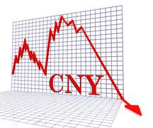 Cny Graph Negative Represents Foreign Exchange 3d Rendering Stock Illustration