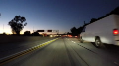 Los Angeles Night Traffic on the San Diego 405 Freeway Car Mount Time Lapse Stock Footage