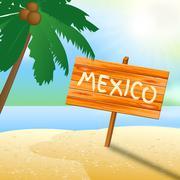 Mexico Holiday Indicates Cancun Vacation 3d Illustration Stock Illustration