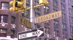 42nd and Broadway Manhattan Street Sign NYC 1970s Vintage Film Home Movie 10037 Stock Footage