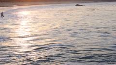 Corona Del Mar beach in California USA at sunrise Stock Footage
