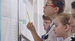 Children Looking at Timetable on First Day at School Stock Footage