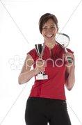 Erwachsene Frau spielt Squash Stock Photos