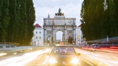 Victory Gate Munich - Siegestor Muenchen - TL day to night with slight zoom-in Stock Footage