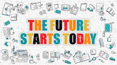 The Future Starts Today in Multicolor. Doodle Design Stock Illustration