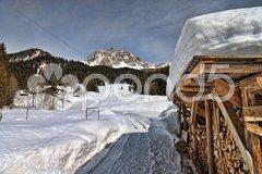 Snow on the Dolomites Mountains, Italy Stock Photos