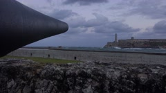 The Morro castle and fort in Havana Cuba with cannon. Stock Footage