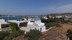 Greek church and reveal village, aerial. Stock Footage