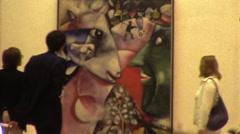 People Look at Painting Guggenheim Museum NYC 70s Vintage Film Home Movie  10021 Stock Footage