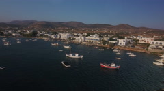 Small boats and dinghies in port of Aliki, Greece. Stock Footage
