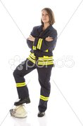 Junge Feuerwehrfrau in Uniform Stock Photos