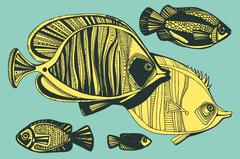 Vector illustration with fishes, ocean Stock Illustration