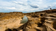 Time lapse of Sam Pan Bok (Grand Canyon of Thailand), Mekhong river-zoom Stock Footage