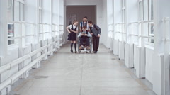 Handicapped Schoolboy Chatting with Friends Stock Footage