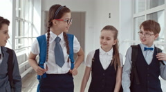 Schoolchildren Talking After Lessons in Hallway Stock Footage