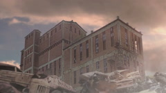 Old German plant, rusty armored vehicle and cars on the background of flying Stock Footage