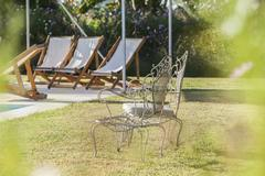 Wrought iron chairs in backyard Stock Photos